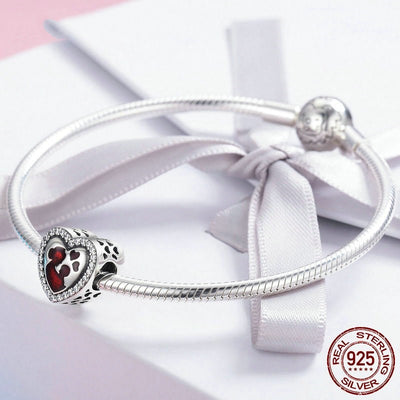 Mom love for child Charm, 925 Silver, CZ, Red Enamel