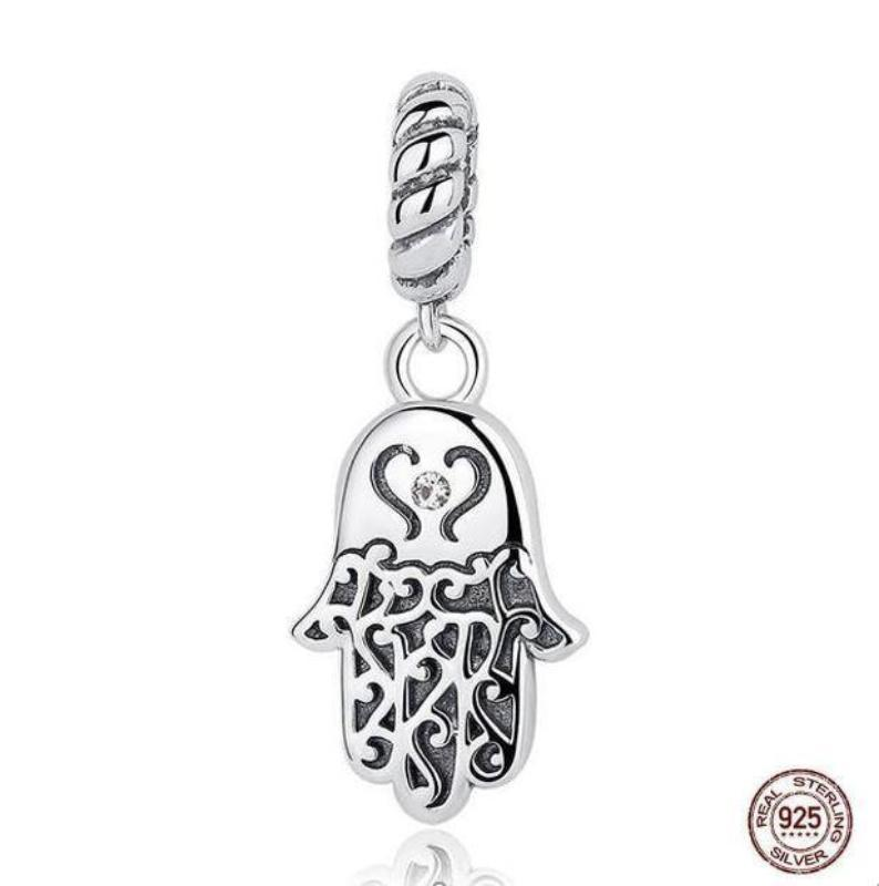 Silver Hamsa Hand Eye Dangle Charm, with Clear CZ, 925 Silver