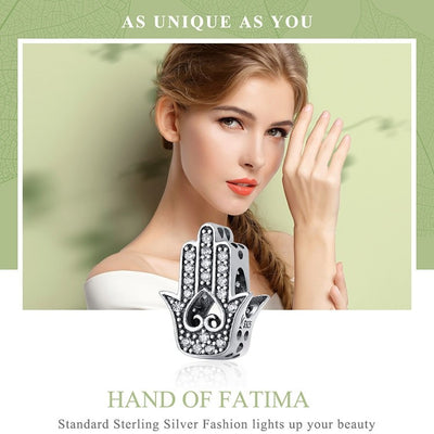 Good Luck Hand Of Fatima Charm, 925 Silver, CZ