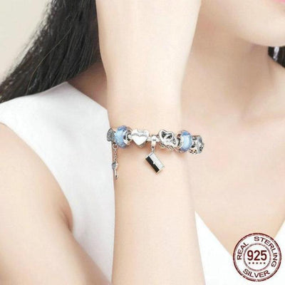 Heart of a Woman Hand Bang theme Charm Bracelet, 925 Silver, CZ