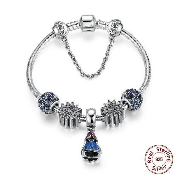 Classic Snake Safety Chain with Ariel's Ice Crystal, Glass Beads, Ocean Mosaic Paved, 925 Silver