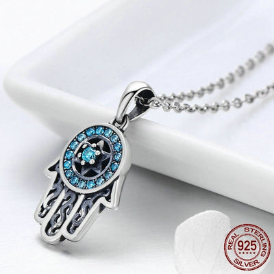 Hand Of Fatima Hamsa Pendant Choker Necklace, 925 Silver, with CZ