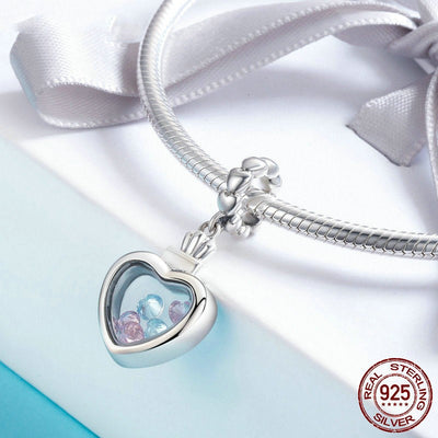 Heart Shape Locket dangle charm, 925 Silver with CZ