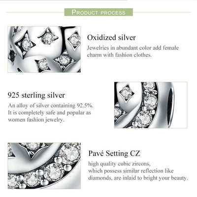 Twinkling Night Clip, 925 Silver with clear CZ