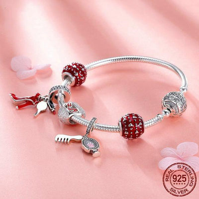 Sexy Lady Fashion theme, Snake Chain Bracelet with Charms, 925 Silver, CZ, Enamel