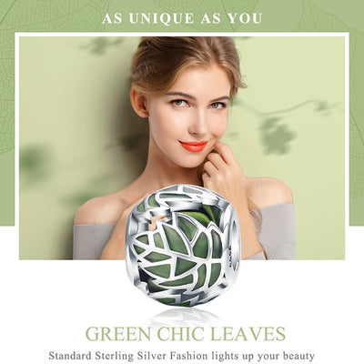Green Chic Leaves Charm, 925 Silver, Forestry Green Enamel