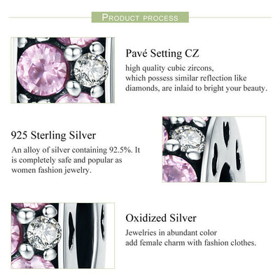 Sparkling Pink Spacer Charm, 925 Silver, CZ