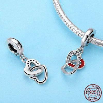 Interlocking Hearts Dangle Charm, 925 Silver with CZ
