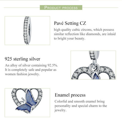 Butterfly in Heart Romantic Charm, 925 Silver, Blue Enamel, CZ