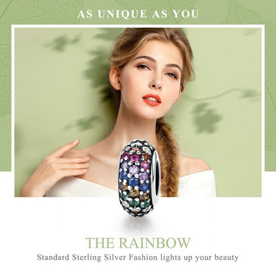 Colorful Rainbow Spacer, 925 Silver. CZ