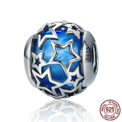 Shimmering Star Glass Charm, 925 Silver