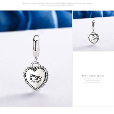 """Just Married"" Heart Dangle Charm, 925 Silver"