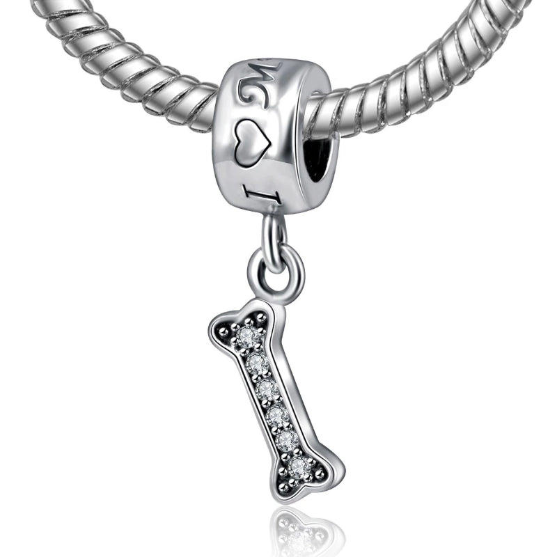 'I Love My Dog' Engraved, Dog bone Dangle Charm, 925 Silver w/CZ