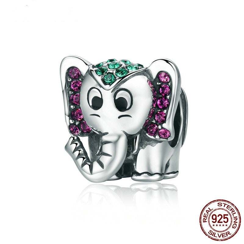 Good Luck Elephant charm, 925 Silver with CZ