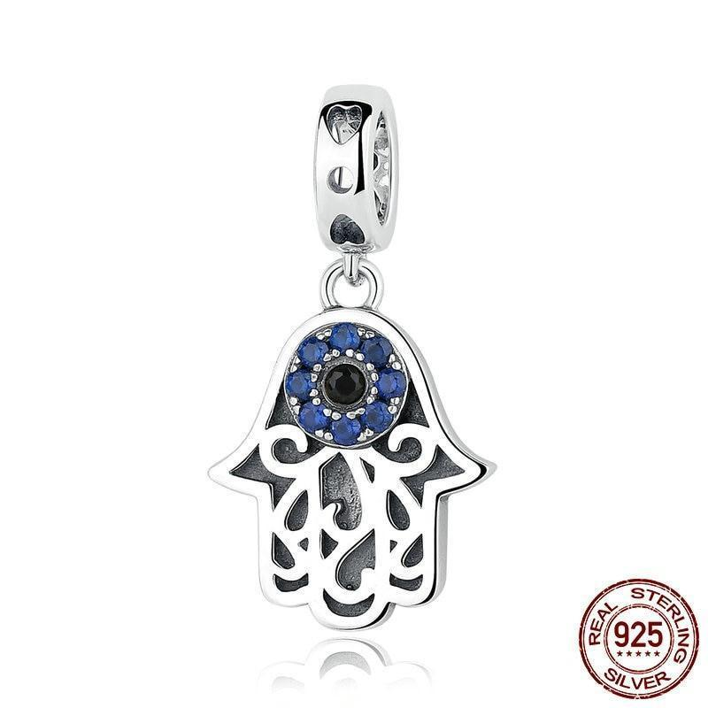 Hamsa Hand Eye Dangle Charm, Blue CZ, 925 Silver