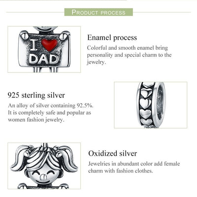 I Love Dad Daughter Charm Dangle, 925 Silver, Red Enamel