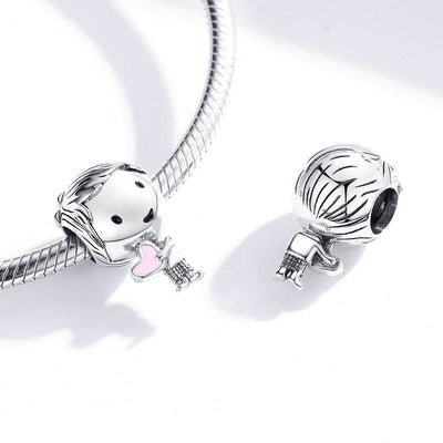 Boy & Girl Beads Friendship Charms, 925 Silver with pink enamel