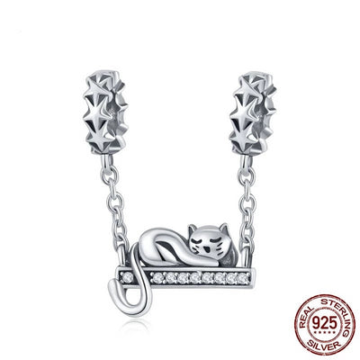 Cute Cat Lying Swing, Safety Chain, 925 Silver, CZ