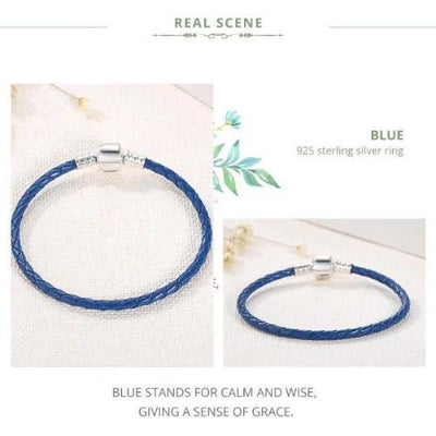 SINGLE BRAIDED LEATHER with 925 Sterling Silver Clasp BRACELET - BLUE