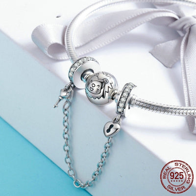 Key to Heart Silicon Safety Chain Charm, 925 Silver, Clear CZ
