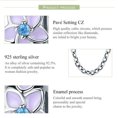 Orchid Flowers Silicon Safety Chain, 925 Silver, CZ, Enamel