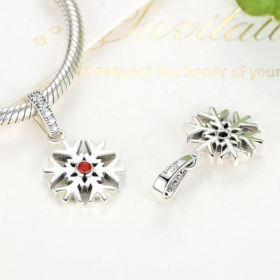 Snowflake Dangle Charm, 925 Silver with Red CZ