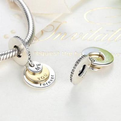 You, Me, Forever Dangle Charm, 925 Silver
