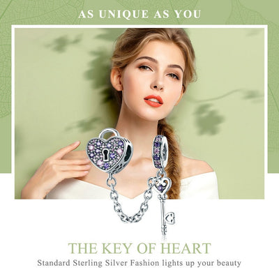 Key of Heart Lock Crystal, 925 Silver with CZ