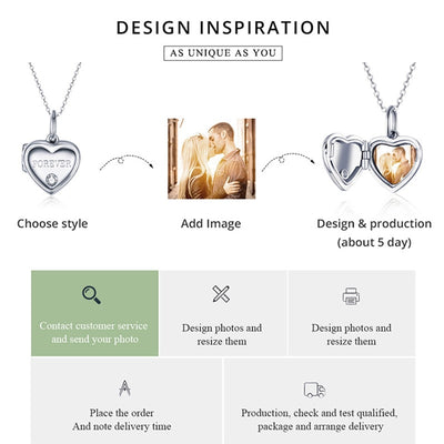 DIY Photo Heart Charm, Forever engraved, 925 Sterling Silver