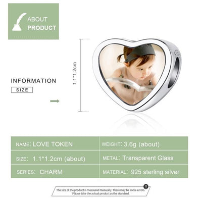 DIY Photo Heart bead charm, 925 Sterling Silver