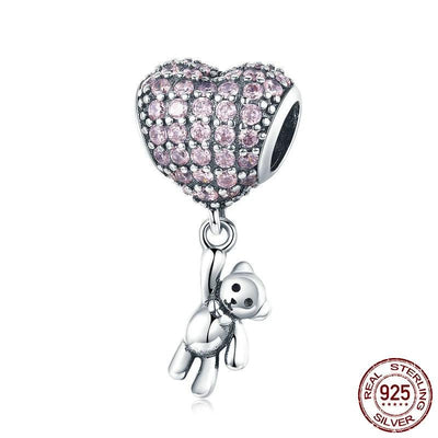 Heart with Bear dangle, 925 Silver with CZ
