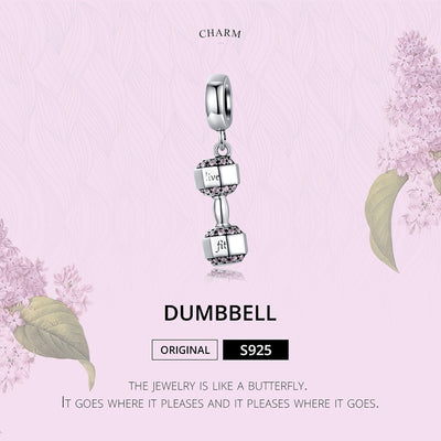 Dumbbell Fitness Charm, 925 Silver with CZ