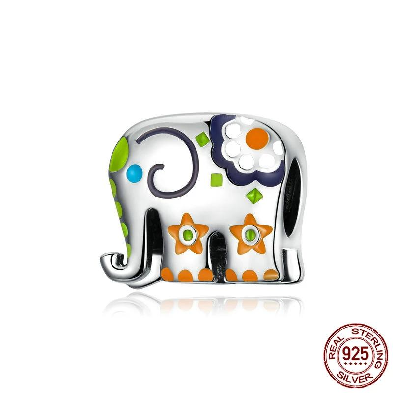 Happy Elephant charm, 925 Silver with colorful enamel