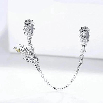 Safety Chain Fairy Angel, 925 Silver with CZ