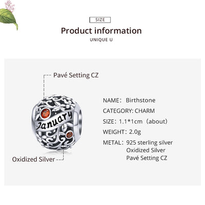 New Birthstone Charm Pendant, 925 Silver with CZ stone
