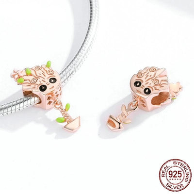 Treant Rose Gold plated charms, 925 Sterling Silver with Enamel