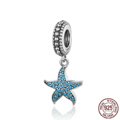 Oceanic Starfish Floating Dangle Charm, 925 Sterling Silver with Blue CZ