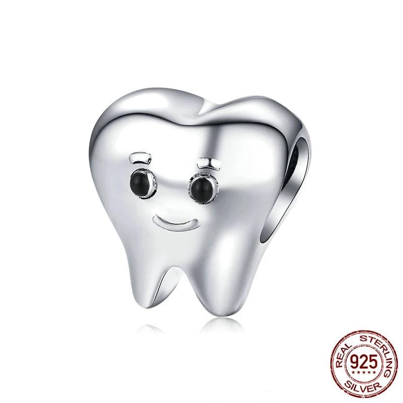 Lovely Tooth Beads, 925 Silver