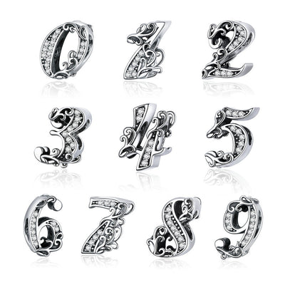 Anniversary, Milestone numeric charms, 0-9 bead Charms, 925 Silver with CZ