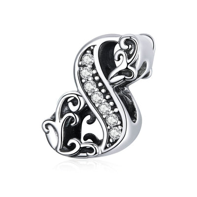 Numeric charms, 0-9 bead Charms, 925 Silver with CZ