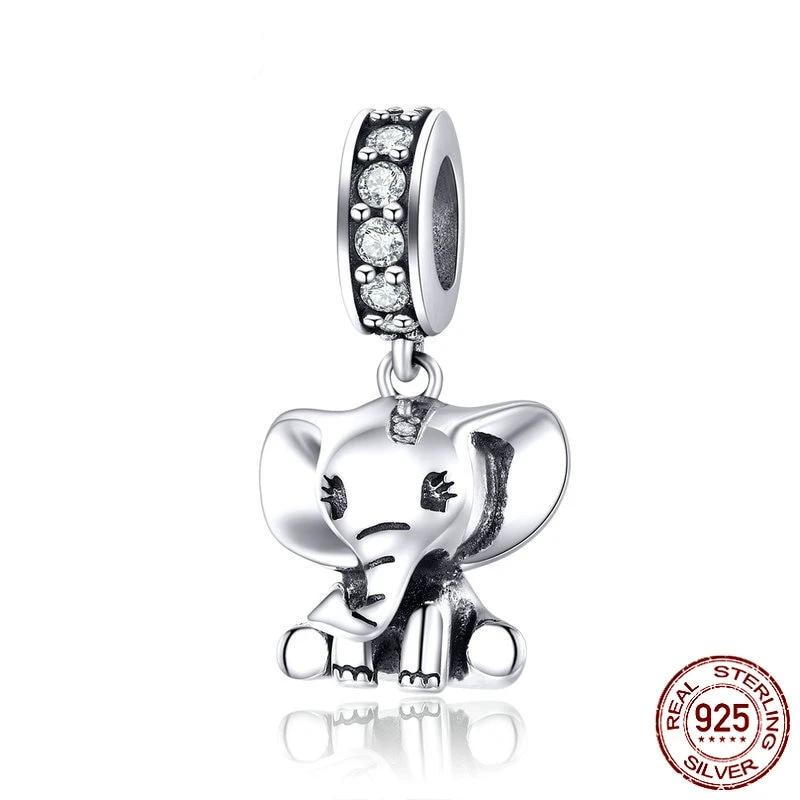 Elephant Charm, 925 Silver, with CZ and Oxidized Silver