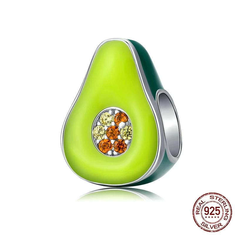 Avocado charm, 925 Sterling Silver, Green Enamel