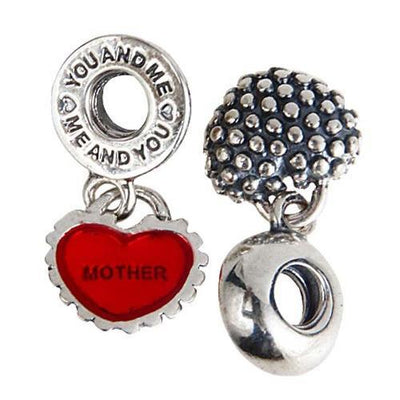 Mother & Daughter 'You and Me' Dangle Charm, 925 Silver w/Red Enamel