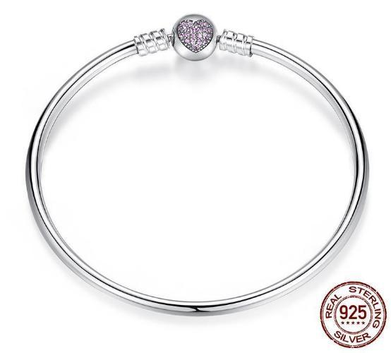 Heart Crystals Clasp, Bangle Charm Bracelet, 925 Silver