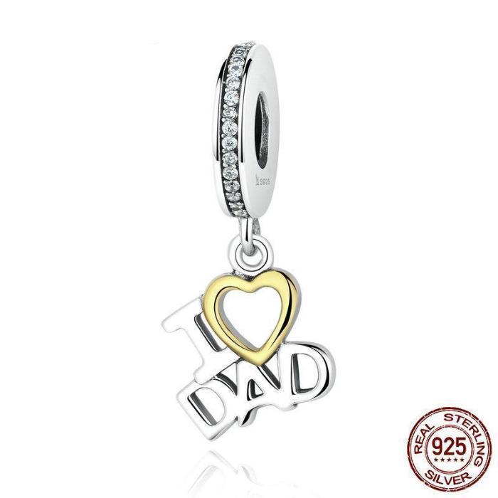 I LOVE DAD Dangle Charm, 925 Silver, CZ