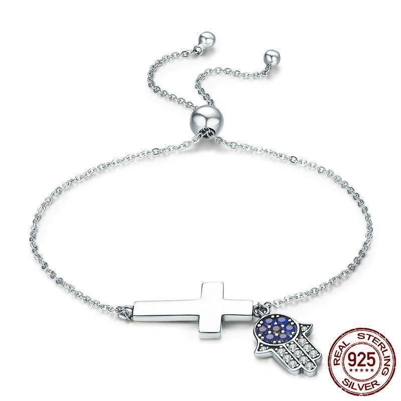 Hand Of Fatima Hamsa Hand Eye Cross Chain Bracelet, 925 Silver
