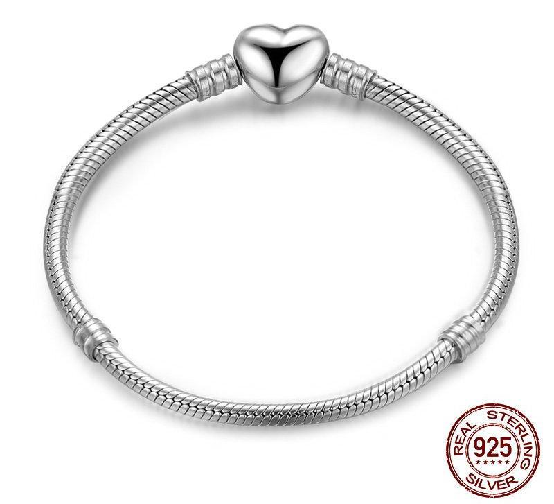 Heart Sterling Silver Clasp, 925 Silver Snake Chain Charm Bracelet
