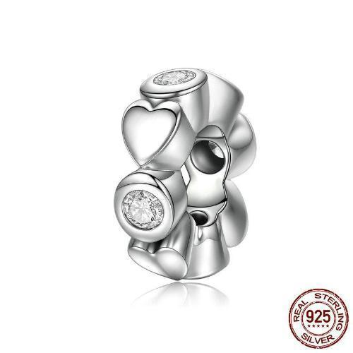 Deep Love Heart Spacer Charm, 925 Silver, CZ