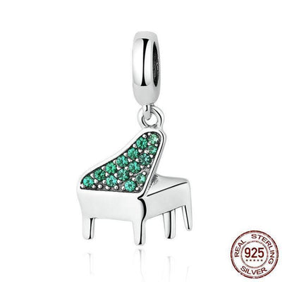 Piano Dangle Charm, 925 Silver with Green CZ