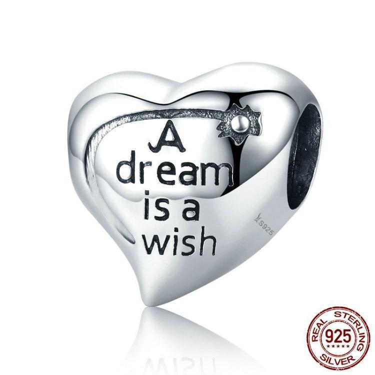 """A Dream is a Wish""""Your heart makes"" engraved charm, 925 Silver"